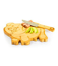 Picnic Time® Piggy Natural Wood Cutting Board and Knife Set