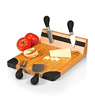 Picnic Time® Artisan Natural Wood Cutting Board with Cheese Tools