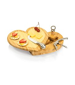 Picnic Time® Heart Bamboo Cutting Board with Wine and Cheese Tools