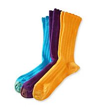 GOLD TOE® 3-pk. Lacey Crew Socks - Purple/Orange/Blue