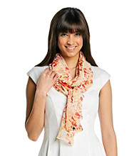 Calvin Klein White Multi Abstract Floral Chiffon Print Neckwrap