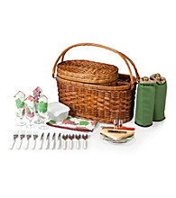 Picnic Time® Merlot Deluxe Chesnut Brown Willow Wine Basket with Pine Green Interior