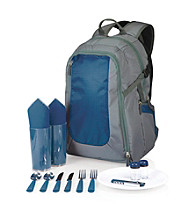 Picnic Time® Grey Escape Insulated Backpack with Full Picnic Set
