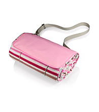 Picnic Time® Pink Stripe Water-resistant Blanket in Compact Carry Tote