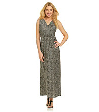 Notations® Surplice V-neck Snakeskin Print Maxi Dress