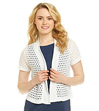 Notations® Pointelle Shirred Cardigan