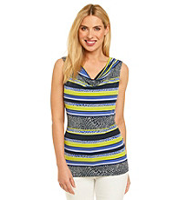Rafaella® Printed Drapeneck Top With Border Geo Stripe