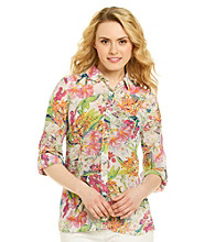 Rafaella® Tropical Printed Sheer Blouse