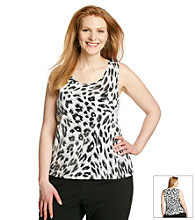 Laura Ashley® Plus Size Sequin Animal Print Tank Top