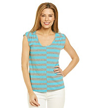 DKNY JEANS® Offset Stripe Ruched Shoulder Tee