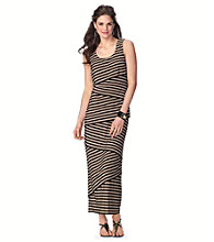 R&M Richards® Asymetric Stripe Maxi Dress