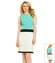 Sandra Darren® Colorblock Crepe Sheath Dress