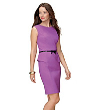 AGB® Belted Peplum Sheath Dress