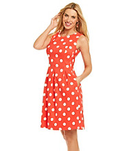 AGB® Dot Print Fit & Flare Dress