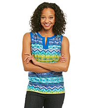 Jones New York Sport® Petites' Printed Solid Placket Splitneck Tank