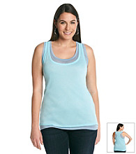 DKNY JEANS® Plus Size Sheer Double Layer Tank