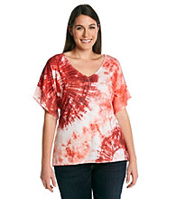 Oneworld® Plus Size Tie Dye Studded Shoulder Tee