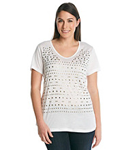 Oneworld® Plus Size White Knit Tee with Gold Studs