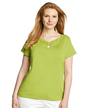 Rafaella® Plus Size Keyhole Knit Solid Top