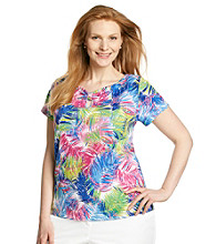 Rafaella® Plus Size Keyhole Knit Tropical Palm Printed Top