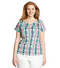 Rafaella® Plus Size Keyhole Knit Ciragan Printed Top