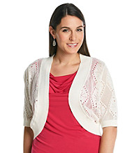 AGB® Plus Size Open Knit Shrug