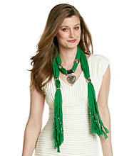 Basha Green Heart Jewelry Scarf