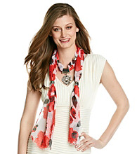 Basha Red Flower Jewelry Scarf