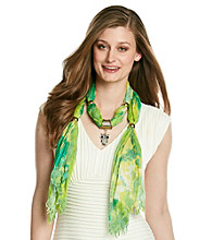 Basha Abstract Print Owl Jewelry Scarf