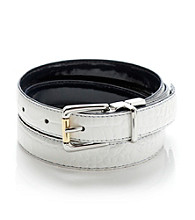 Lauren Ralph Lauren White Navy Croc to Patent Reversible Belt