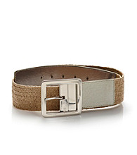 Nine West® Green Reversible Stretch Straw Belt
