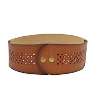Fossil® Tan Signature Perforated Stretch Belt