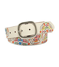 Fossil® Bone Embossed Medallions Belt