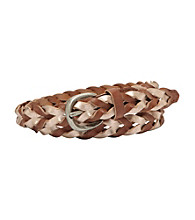 Fossil® Rose Gold Colorblock Woven Belt