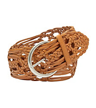 Fossil® Light Tan Wide Woven Waist Belt