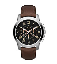 Fossil® Men's Grant Chronograph Watch in Stainless Steel with Black Dial and Brown Leather Strap
