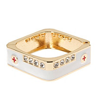 L&J Accessories White with Crystal Square Enamel Bangle