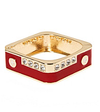 L&J Accessories Red with Crystal Square Enamel Bangle