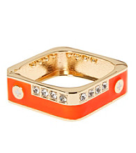 L&J Accessories Orange with Crystal Square Enamel Bangle