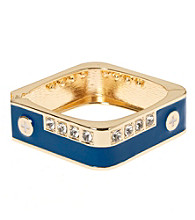 L&J Accessories Blue with Crystal Square Enamel Bangle