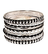 L&J Accessories Multi Row Jet and Silvertone Bangles