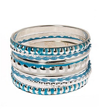 L&J Accessories Multi Row Blue and Silvertne Bangles