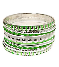L&J Accessories Multi Row Green and Silvertone Bangles