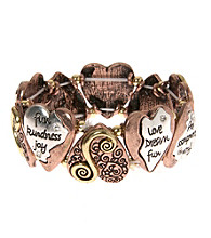 L&J Accessories Tri-Tone Inspirational Heart Stretch Bracelet
