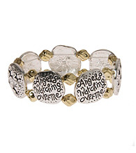 L&J Accessories Two Tone Inspirational Angel Stretch Bracelets