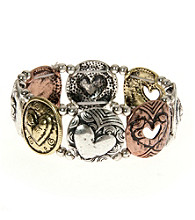 L&J Accessories Tri-Tone Inspirational Heart Links Stretch Bracelet