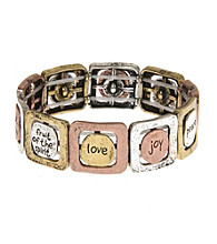 L&J Accessories Tri-Tone Inspirational Square Links Stretch Bracelet