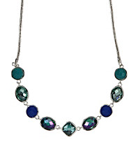 Nine West® Blue and Green Faceted Stone Frontal Necklace