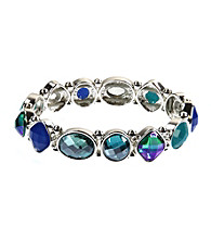 Nine West® Blue and Green Faceted Stone Stretch Bracelet