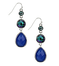 Nine West® Blue and Green Faceted Stone Linear Pierced Earrings